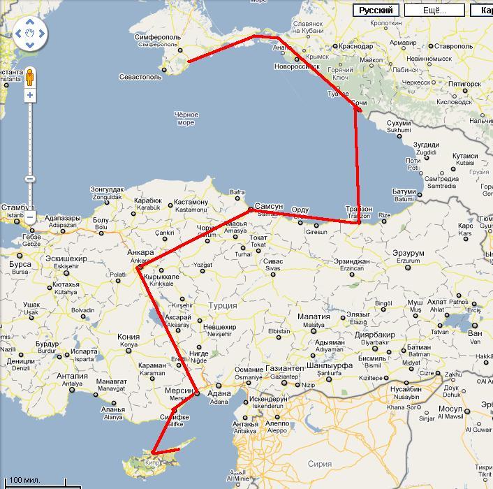 маршрут до Турции